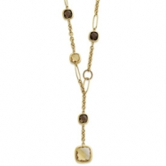 14k Citrine & Smokey Quartz Drop Link Necklace chain