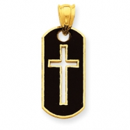 14k Polished Cross Cut-out Pendant
