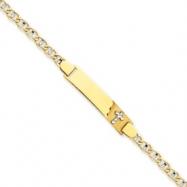 14k Two-tone Anchor Baby ID w/Cross Bracelet