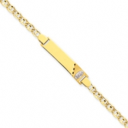 14k Two-tone Anchor Baby ID w/Guadalupe Bracelet