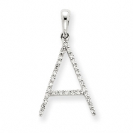 14k White Gold Diamond Initial A Pendant