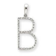 14k White Gold Diamond Initial B Pendant