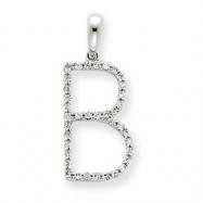 14k White Gold Diamond Initial B Pendant