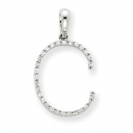 14k White Gold Diamond Initial C Pendant