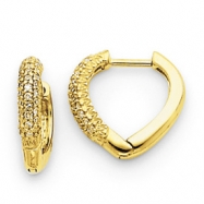 14k Diamond Heart Hinged Hoop Earrings