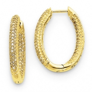 14k Diamond In - Out Hinged Hoop Earrings