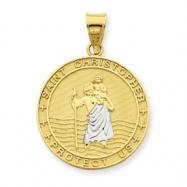 14K Saint Cristoper Medal Pendant