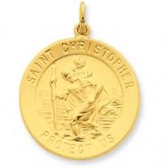 24k Gold-plated Sterling Silver St. Christopher Medal