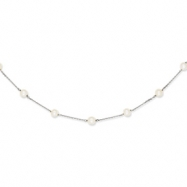 14K White Gold White Cultured Pearl Necklace chain