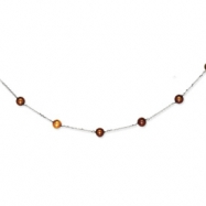 14K White Gold Chocolate Cultured Pearl Necklace chain