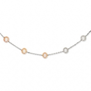 14K White Gold Natural Color Cultured Pearl Necklace chain