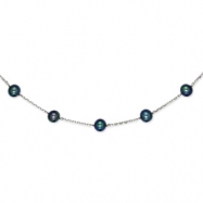 14K White Gold Peacock Cultured Pearl Necklace chain