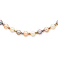 14K Tri Color Cultured Pearl Necklace chain