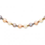 14K Tri Color Cultured Pearl Necklace chain