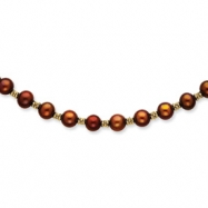14K Chocolate Cultured Pearl & Bead Necklace chain