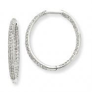 14k White Gold AA Diamond In & Out Hoop Earrings