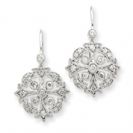 14k White Gold AA Diamond Leverback Earrings