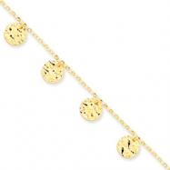 14k Polished & Diamond -Cut Anklet