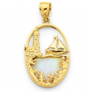 14K Created Opal Lighthouse & Sailboat Pendant