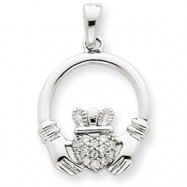 14k White Gold Diamond Claddagh Pendant