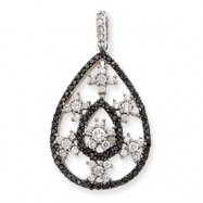 14K White Gold White & Black Diamond Pendant