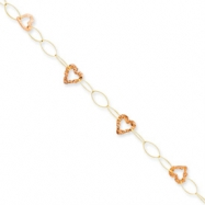 14k Two-tone Adjustable Heart Anklet