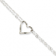 14k White Gold Double Strand Heart Anklet