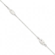 14k White Gold Puffed Rice Bead Anklet