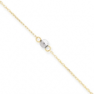 14k Two-tone Mirror Bead Anklet