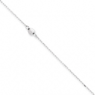 14K White Gold Mirror Beaded Anklet