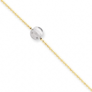 14k Two-tone Mirror Beaded Anklet