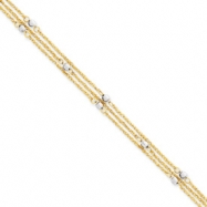14k Two-tone Triple Strand Anklet