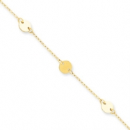 14K Polished Disc Adjustable Anklet