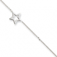 14K Whtie Gold Adjustable Star Anklet