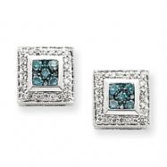 14k White Gold Blue Diamond Earrings