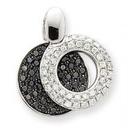 14K Small Black and White Diamond Circle Pendant, White Gold