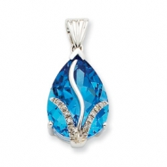 14K White Gold Blue Topaz & Diamond Pendant