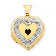 14K 18mm Heart Garnet Crystal Border Locket