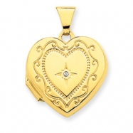14K 18mm Heart Scroll Bead Diamond Set Locket