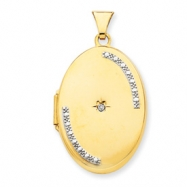 14K 26mm Oval Rho Premium Diamond Set Locket