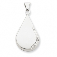 14K 21mm Tear Drop Diamond Set Locket