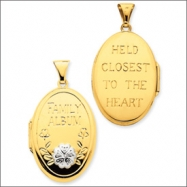 14K & Rhodium 32mm Diamond Family Album Locket
