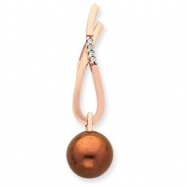 14K Rose Gold Diamond and Lt Brown Cultured Pearl Pendant