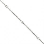 14k White Gold Diamond Rolo Anklet