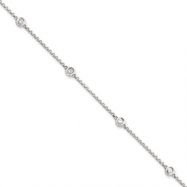 14k White Gold Diamond Rolo Necklace