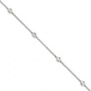 14k White Gold Diamond Rolo Necklace