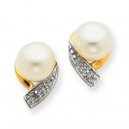 14K Cultured Pearl & Diamond Earrings