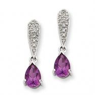 14k White Gold Amethyst & Diamond Dangle Post Earrings
