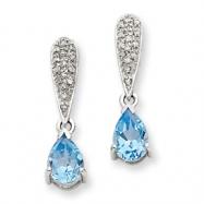 14k White Gold Blue Topaz & Diamond Dangle Post Earrings
