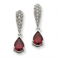 14k White Gold Garnet & Diamond Dangle Post Earrings